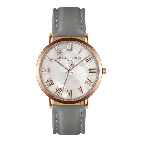 Amelia Parker Grey Classique Leather Watch 36mm