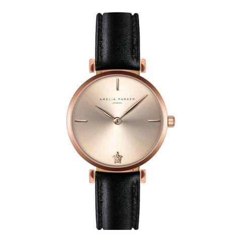 Amelia Parker Black Gold Shore Leather Watch 32mm