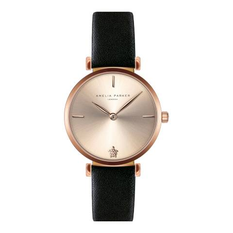 Amelia Parker Black Gold Shore Leather Watch 32mm