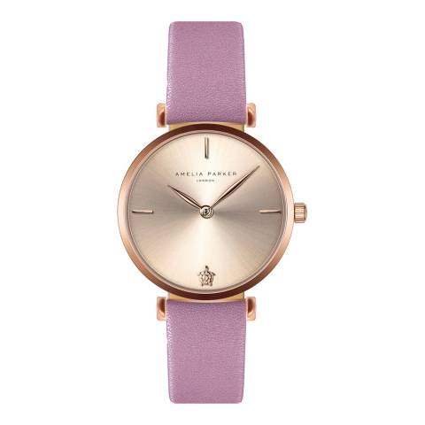 Amelia Parker Pink Gold Shore Leather Watch 32mm