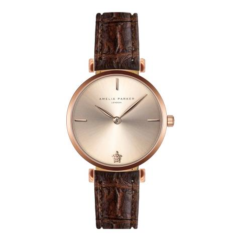 Amelia Parker Brown Gold Shore Leather Watch 32mm