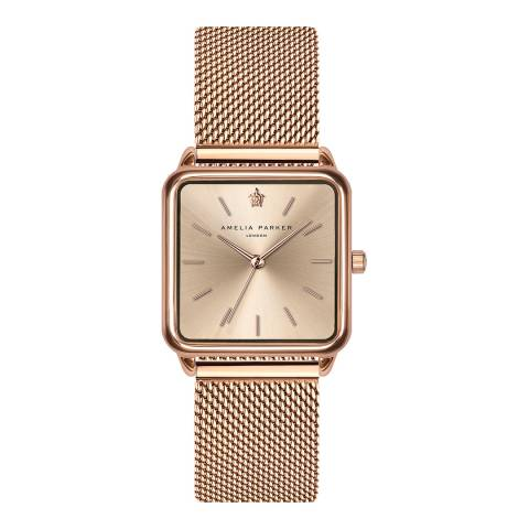 Amelia Parker Rose Gold Gold Plaza Mesh Watch 28mm