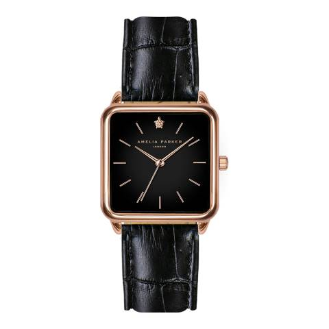 Amelia Parker Black Night Plaza Leather Watch 28mm