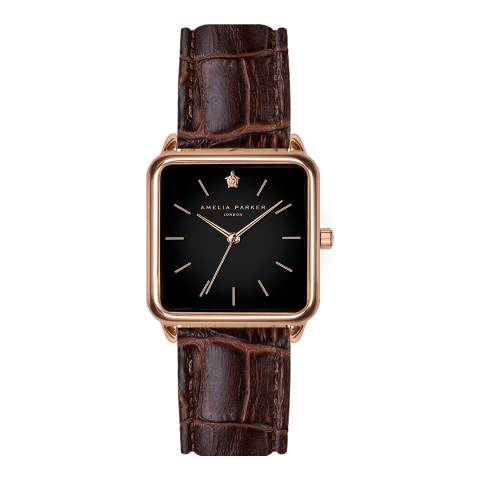 Amelia Parker Brown Night Plaza Leather Watch 28mm