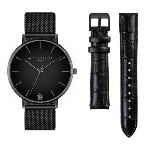Amelia Parker Jet Black Watch Set 38mm