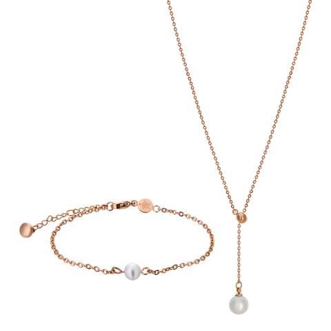 Amelia Parker Rose Gold Pearl Jewellery Set