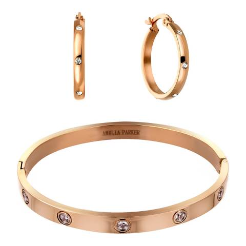 Amelia Parker Rose Gold Crystal Hoop Jewellery Set
