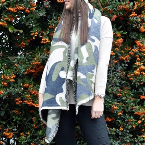JayLey Collection Camo Cashmere Blend Wrap