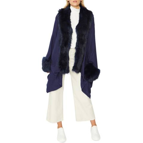 JayLey Collection Navy Knitted Luxury Faux Fur Cape