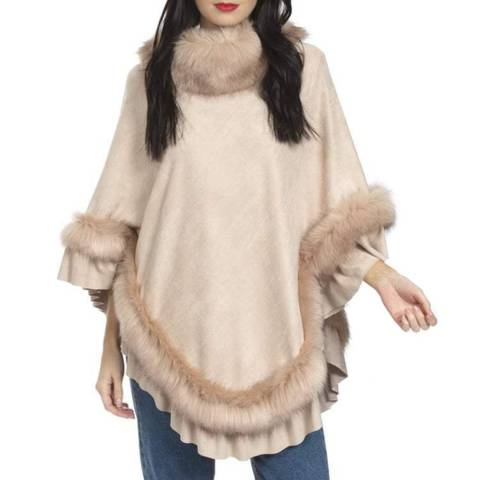 JayLey Collection Pink Suede & Faux Fur Poncho