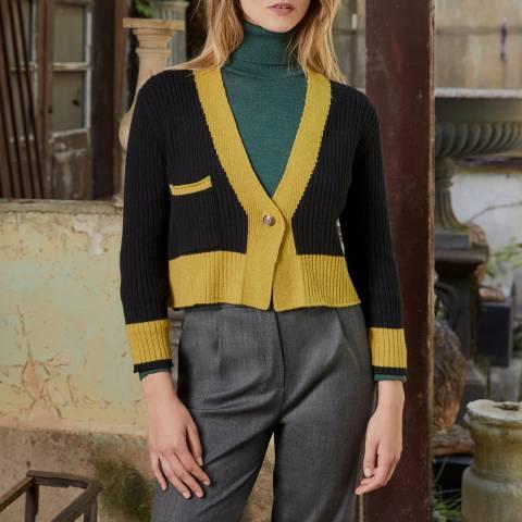 Rodier Lime Wool Blend Bicolour Cardigan
