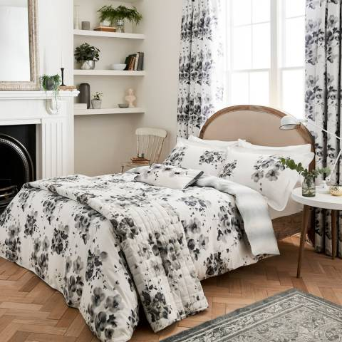 Sanderson Mandarin Flowers Double Duvet Cover Set, Grey/Black