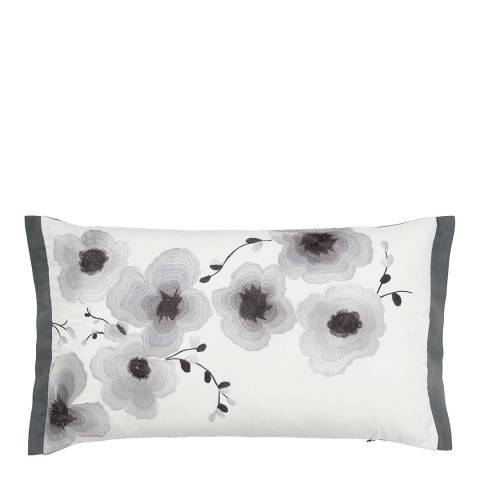 Sanderson Mandarin Flowers 30x50cm Cushion, Grey/Black