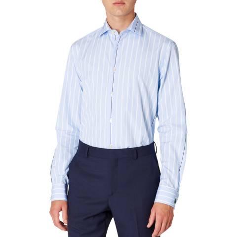 PAUL SMITH Light Blue Stripe Tailored Fit Cotton Shirt