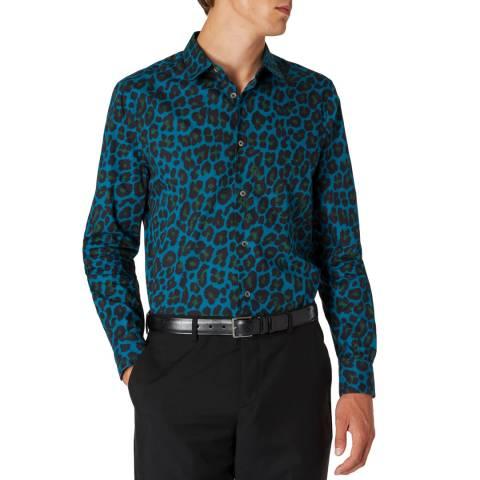 PAUL SMITH Petrol Leopard Print Cotton Shirt