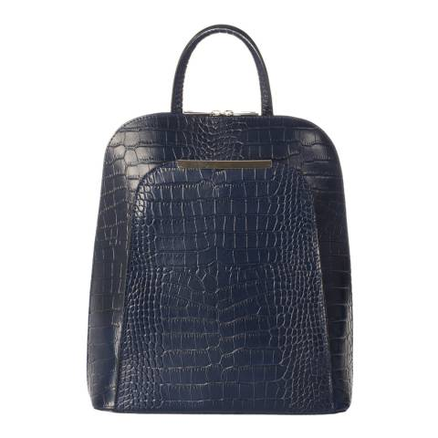 Markese Blue Leather Backpack