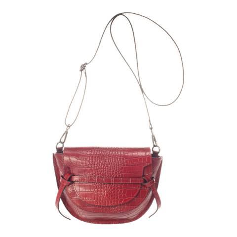 Giulia Massari Burgundy Leather Clutch Bag