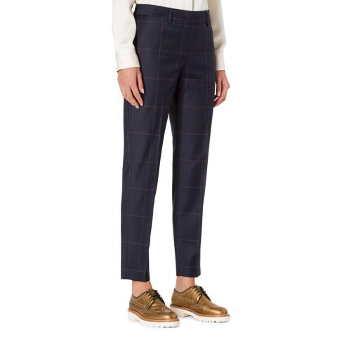 PAUL SMITH Midnight Check Slim Leg Wool Trousers