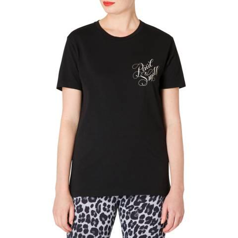 PAUL SMITH Black Printed Back Cotton T-Shirt