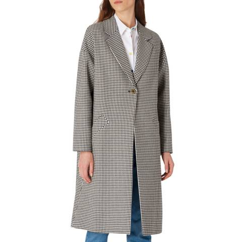 PAUL SMITH Black Check Wool Blend Coat