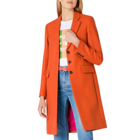 PAUL SMITH Light Rust Wool Blend Coat