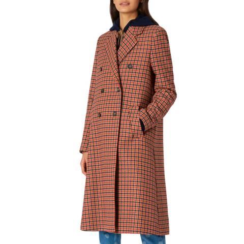 PAUL SMITH Light Rust Dogtooth Wool Blend Coat