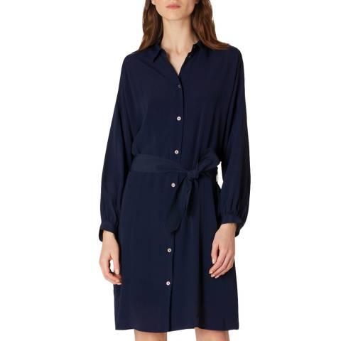 PAUL SMITH Navy Silk Blend Shirt Dress