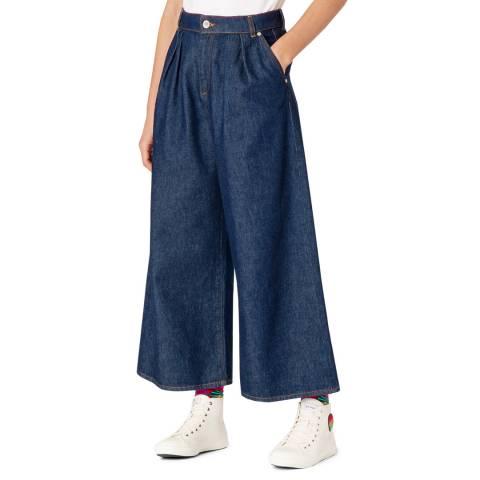 PAUL SMITH Indigo Wide Leg Cotton Jeans
