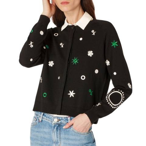PAUL SMITH Black Embroidered Cotton/Wool Cardigan