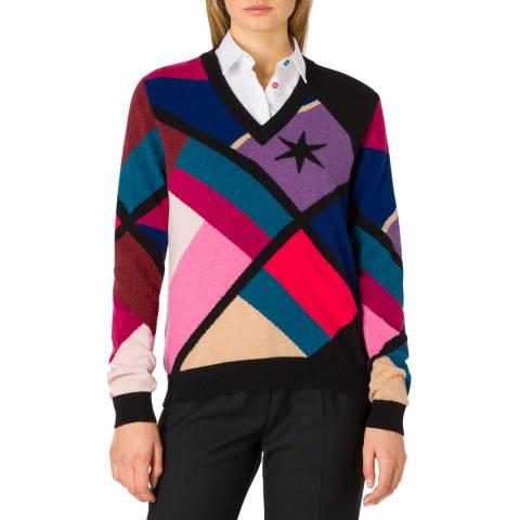PAUL SMITH Black Colourblock Wool Blend Jumper