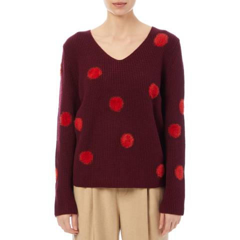 PAUL SMITH Deep Red Fluffy Wool Blend Jumper