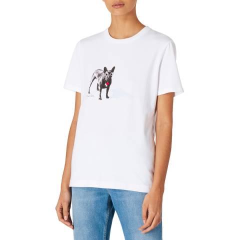 PAUL SMITH White Printed Dog Cotton T-Shirt