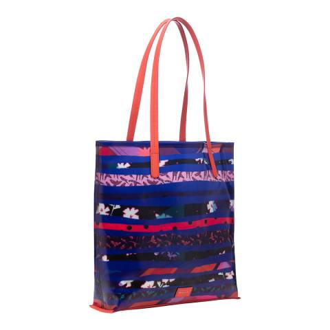 PAUL SMITH Bright Blue Torn Pattern Tote Bag