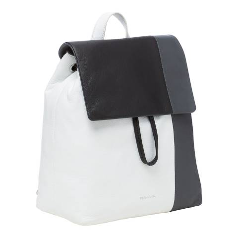PAUL SMITH White/Black/Grey Colourblock Leather Backpack