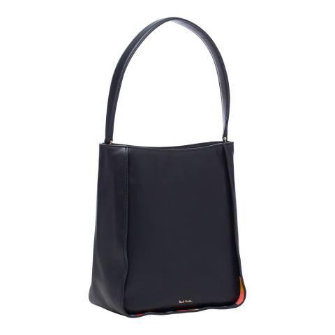 PAUL SMITH Navy Leather Swirl Hobo Bag
