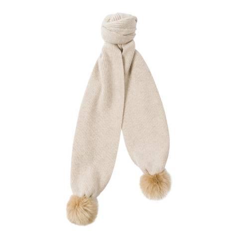 PAUL SMITH Off White Faux Fur Pom Pom Scarf