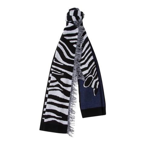 PAUL SMITH Navy Merino Blend Zebra Scarf