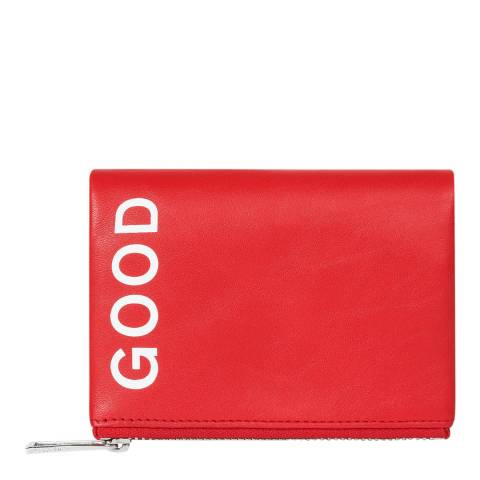 PAUL SMITH Coral Red Leather Zip Good Purse