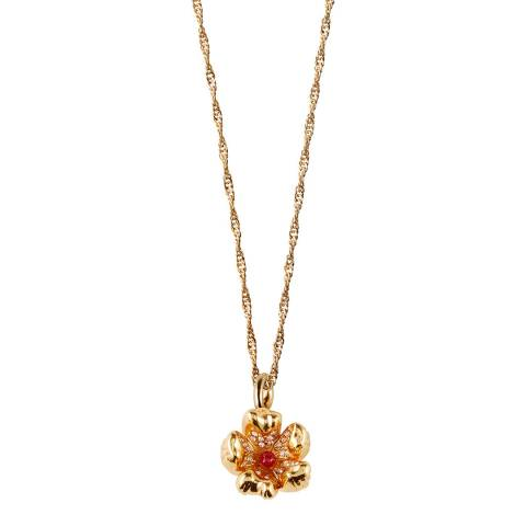 MAJE Gold Red Flower Chain Necklace