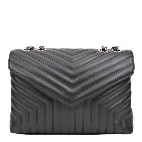 Luisa Vannini Black Leather Shoulder/Crossbody Bag