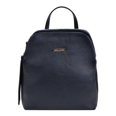 Anna Luchini Navy Leather Backpack