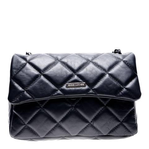 Anna Luchini Black Leather Shoulder/Crossbody Bag