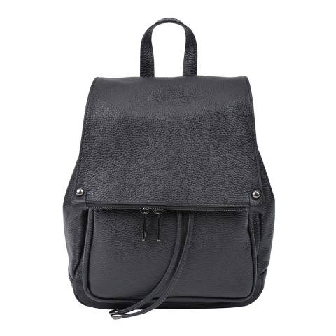 Roberta M Black Leather Backpack