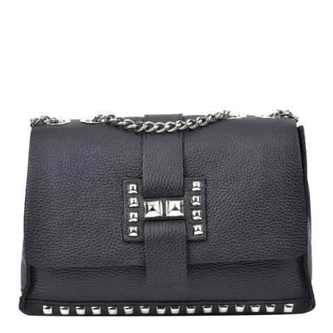 Roberta M Black Leather Shoulder/Crossbody Bag