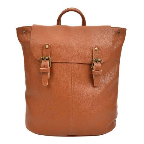 Roberta M Cognac Leather Backpack
