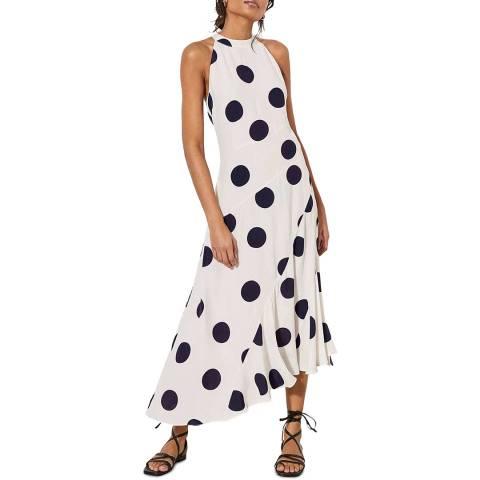 Mint Velvet Polka Dot Fluted Midi Dress