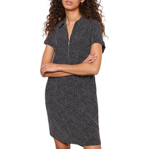 Mint Velvet Black Spotted Zip Front Dress