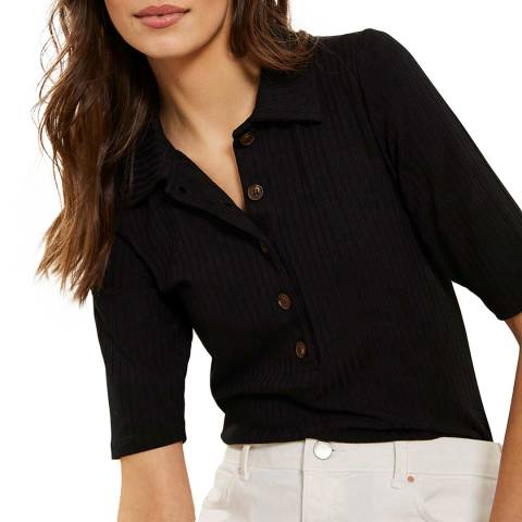 Mint Velvet Black Rib Button Polo Top