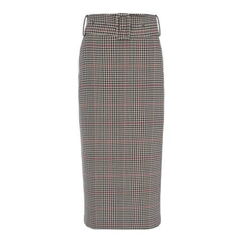 Mint Velvet Check Belted Midi Pencil Skirt