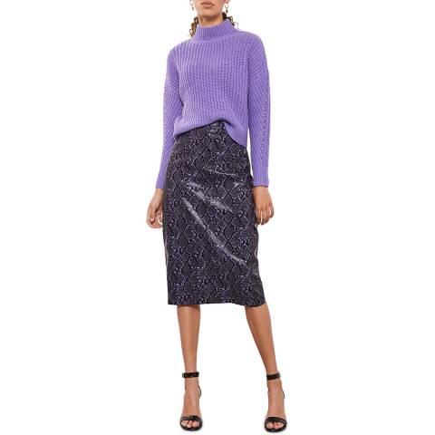 Mint Velvet Grape Snake Faux Leather Skirt